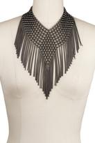 Saachi Gunmetal Chain Tassel Bib Necklace