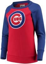 G Iii Women's G-III 4Her by Carl Banks Red Chicago Cubs Top Ranking Tunic Raglan Crew Sweatshirt