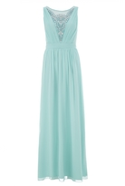 Quiz Aqua Chiffon Diamante Embellished V Neck Maxi Dress