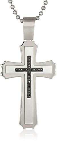 Black Diamond Cold Steel Stainless Steel Black Immersion .125Cttw Men's Pendant Necklace