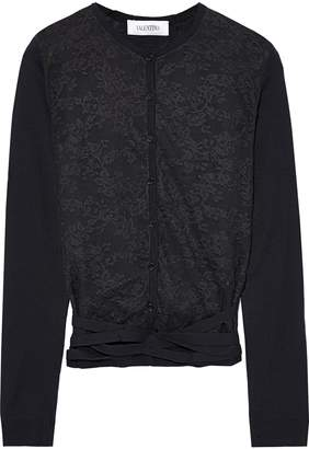 Valentino Lace-paneled Wool Cardigan