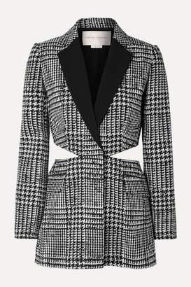 Carolina Herrera Cutout Crepe-trimmed Prince Of Wales Checked Wool And Silk-blend Blazer - Black
