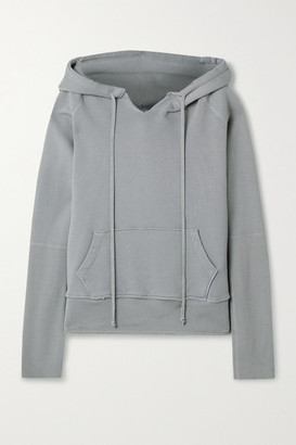 Nili Lotan Janie Distressed Cotton-jersey Hoodie - Gray