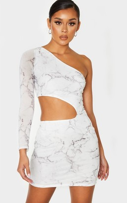Red Label Redlabel White Mesh Marble Print Cut Out One Shoulder Bodycon Dress
