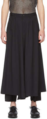 Sulvam Black Wool Skirt Trousers