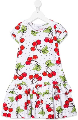 MonnaLisa Cherry Print Ruffle Hem Dress
