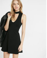 Express cut-out fit and flare choker dress