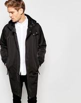 Selected Homme Longline Parka With Detachable Hood
