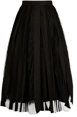 Fabiana Filippi Striped Mesh Midi Skirt