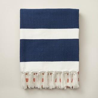Indigo Striped Picnic Blanket Summer Navy
