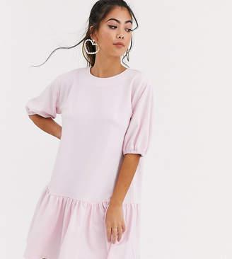 Asos DESIGN Petite textured smock dress with pephem-Pink