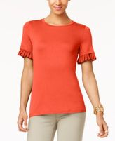 MICHAEL Michael Kors Pleated-Trim T-Shirt