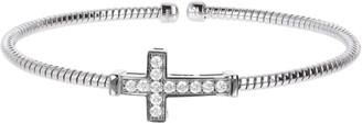 Diamonique Sterling Silver Cross C uff