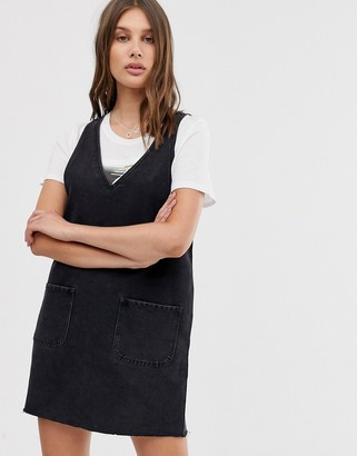 Only denim pinafore mini dress in washed black