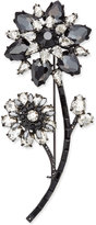 Kate Spade Black-Tone Jet and Clear Crystal Flower Pin