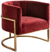 Abbyson Erika Channel Tufting Velvet Accent Chair, Red
