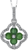 FINE JEWELRY 1/8 CT. T.W. Diamond and Genuine Emerald 10K White Gold Flower Pendant Necklace