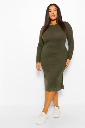 boohoo Plus Long Sleeve Soft Rib Knit Midi Dress
