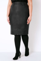 Yours Clothing Black Coated Pencil Skirt With Elasticated Waist