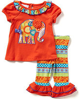 Bonnie Jean Bonnie Baby Girls Newborn-24 Months Printed Elephant-Appliqued Dress and Printed Leggings Set