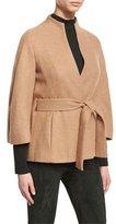 Escada Cashmere Belted 3/4-Sleeve Jacket, Caramel