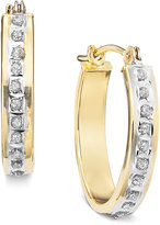 Macy's Diamond Accent Earrings, 14k White or Yellow Gold Hoops