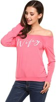 POGT Casual Long Sleeve T Shirt Women Loose Fit Wifey Print Slouchy Shirt Top