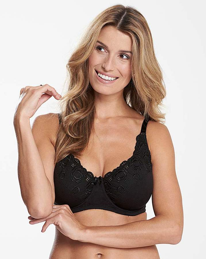 Naturally Close Iris Cotton Comfort Full Cup Black Bra