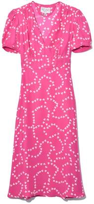HVN Paula Deep V Neck Dress in Hot Pink String of Hearts