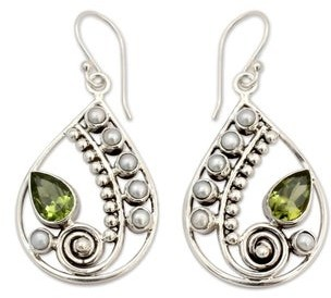 Novica Peridot and Cultured Pearl Dangle Earrings, 'Inspired Paisley'