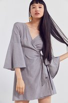 Ecote Striped Bell Sleeve Wrap Dress