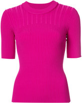Carven ribbed short sleeve knitted top - women - Nylon/Spandex/Elastane/Viscose - XS