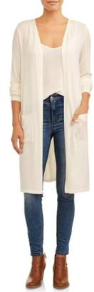 Time and Tru Women's Hacci Duster Cardigan With Pockets