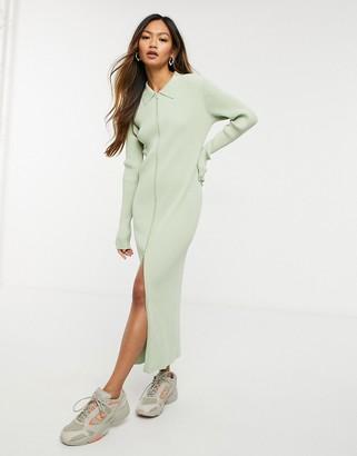Weekday Riana knitted dress with zip through in khaki