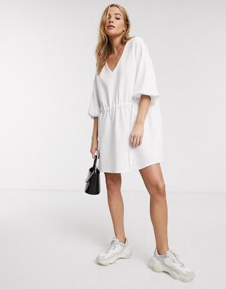 Asos Design DESIGN tie detail smock dress in white