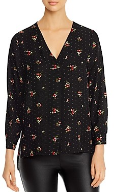 Status By Chenault Status by Chenault Floral & Dot Print High/Low Top