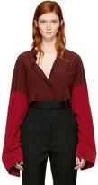Haider Ackermann Red Bicolor Silk Shirt