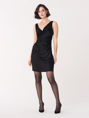 Diane von Furstenberg Zora Swarovski Embellished Satin Mini Dress