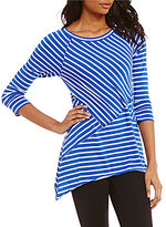 Calvin Klein Pieced 3/4 Sleeve Striped Knit Jersey Tee