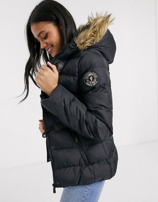 Brave Soul wizard padded coat with faux fur trim hood-Black