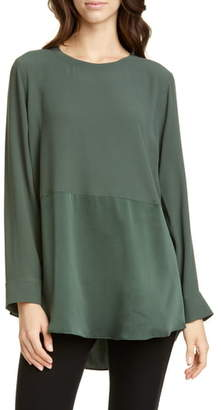 Eileen Fisher Mixed Finish Silk Tunic