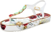 Dolce & Gabbana Rhinestone Poppy Print Sandal