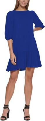 DKNY Ruffled-Hem Elbow-Sleeve Dress