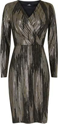 Wallis Silver Sparkle Wrap Dress