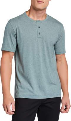 Vince Men's Feeder Stripe Short-Sleeve Henley Shirt