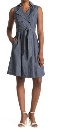 Maggy London Sleeveless Double Breasted Linen Blend Dress