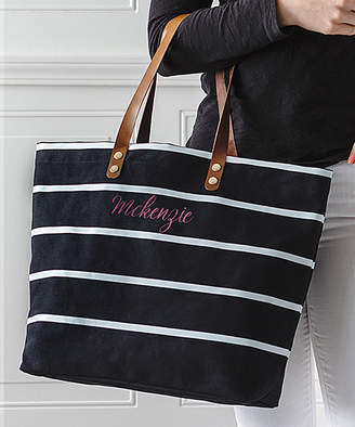 Cathy's Concepts Totebags Black - Black Stripe Personalized Tote