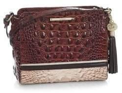 Brahmin Carry Crossbody Embossed Leather Bag