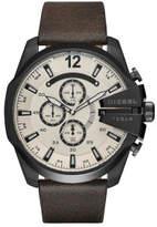 Diesel Mega Chief Dark Brown Leather And Stainless Steel Watch