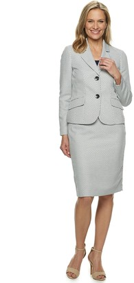 Le Suit Women's 2-Button Basketweave Skirt Suit